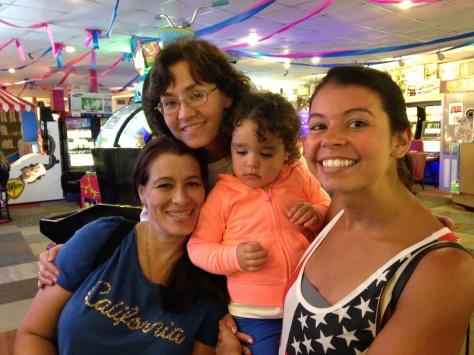 Shannon with her Aunts Carla and Cathy and cousin Sophia in Ed's Funcade in North Wildwood