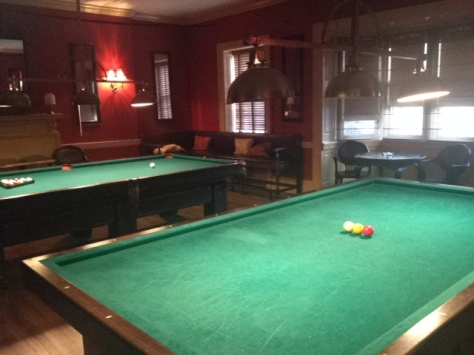 The billiards room on the third floor of Stotesbury Mansion. The couple is excited for guests to see the rest of the mansion in person at the ceremony.