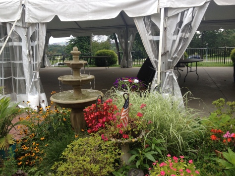 In the event of rain, the entire wedding could take place inside this tent at Belmont Mansion